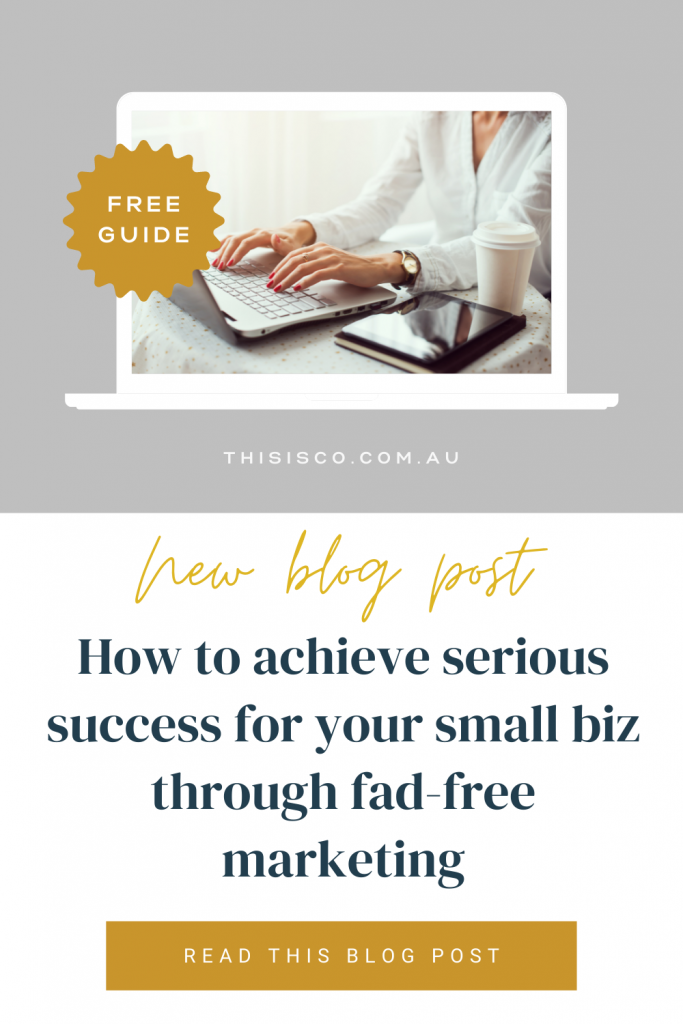 Writer at keyboard with text 'how to achieve serious success for your small biz through fad-free marketing'
